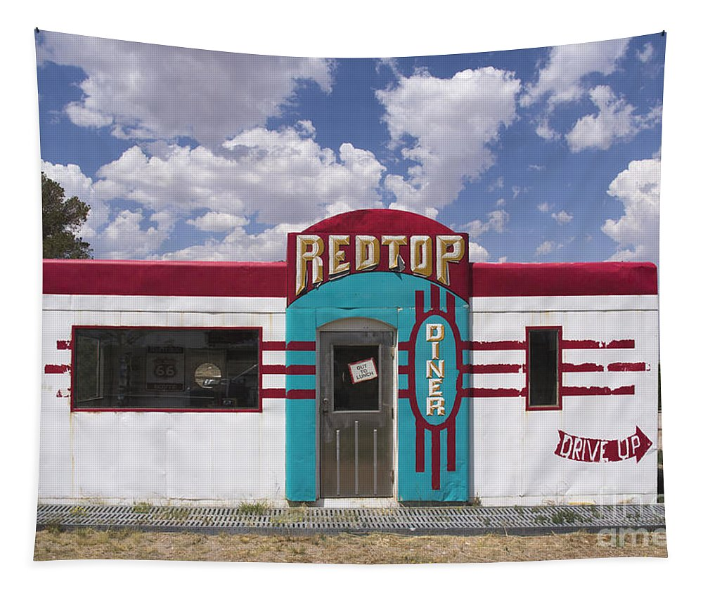 Red Top Diner On Route 66 Tapestry featuring the photograph Red Top Diner On Route 66 by Priscilla Burgers