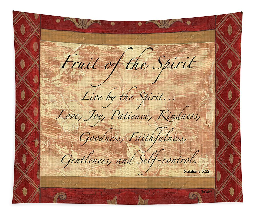 Fruit Of The Spirit Tapestry featuring the painting Red Traditional Fruit Of The Spirit by Debbie DeWitt