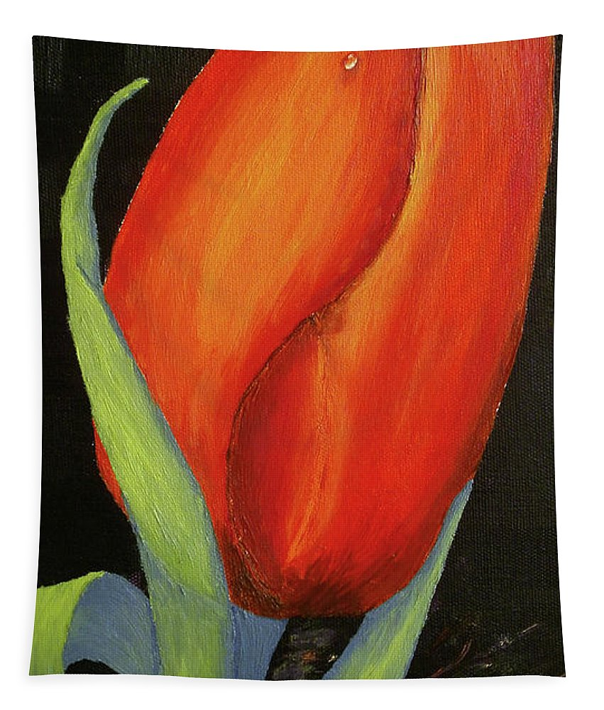 Original Art. By Maria Woithofer Tapestry featuring the painting Red Tulip by Maria Woithofer