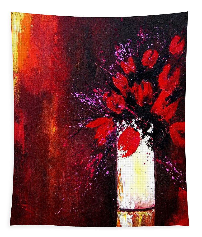 Flowers Tapestry featuring the painting Red Tulips by Pol Ledent