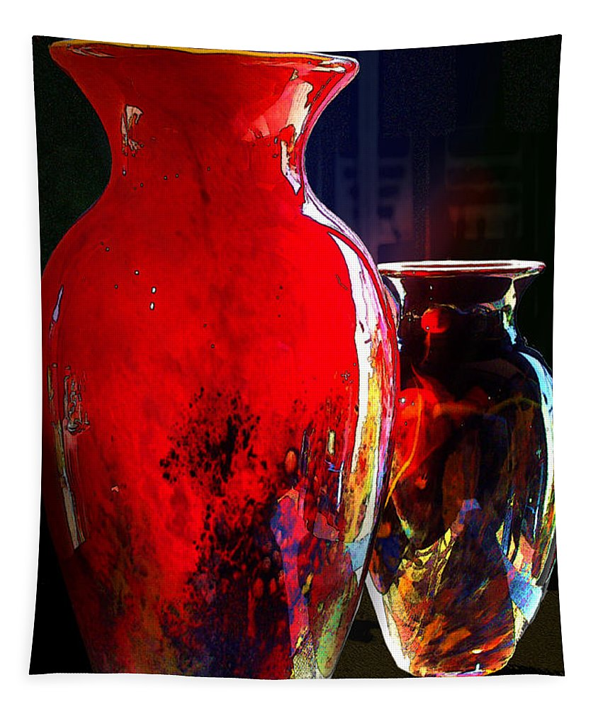 Red Vase Tapestry featuring the photograph Red Vase by Paul Wear