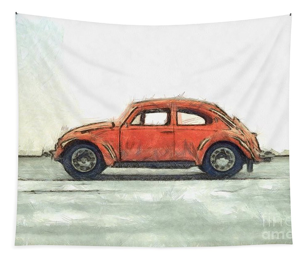 Colored Tapestry featuring the photograph Red Vw Beetle Bug Pencil by Edward Fielding
