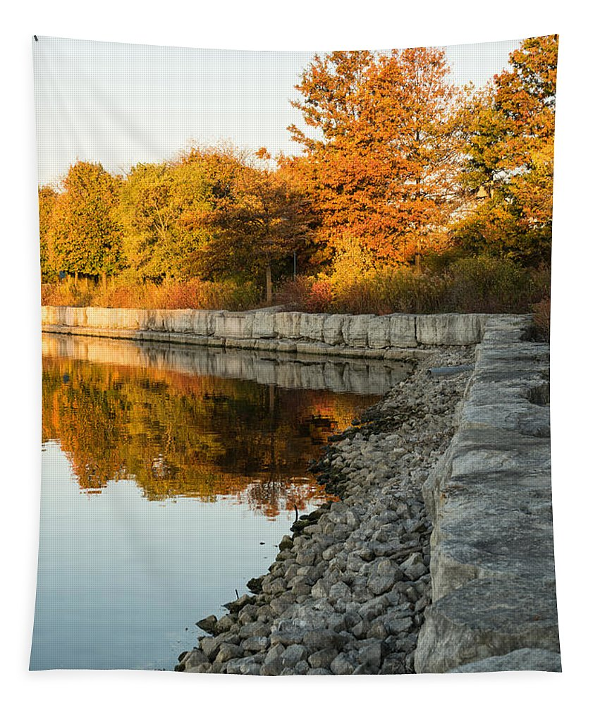 Georgia Mizuleva Tapestry featuring the photograph Reflecting On Autumn - Gray Rocks Highlighting The Foliage Brilliance by Georgia Mizuleva