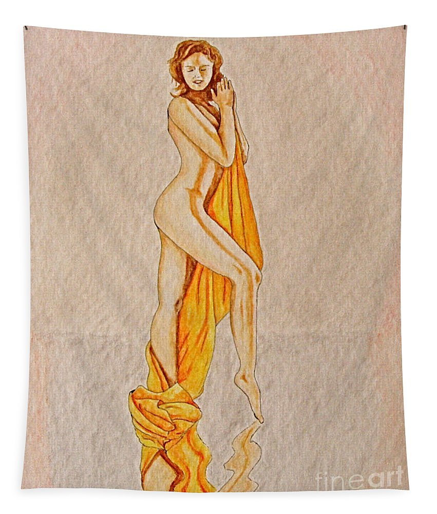 Nude Tapestry featuring the painting Reflection by Herschel Fall