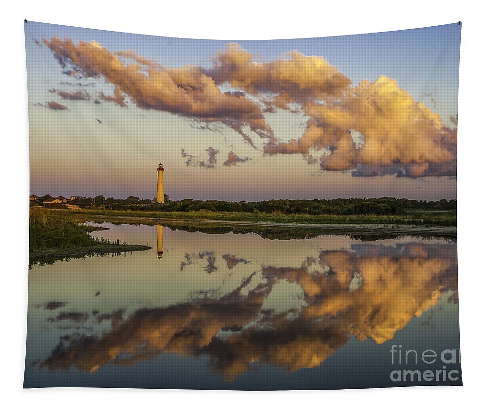Architecture Tapestry featuring the photograph Reflection Of Clouds And Lighthouse by Nick Zelinsky