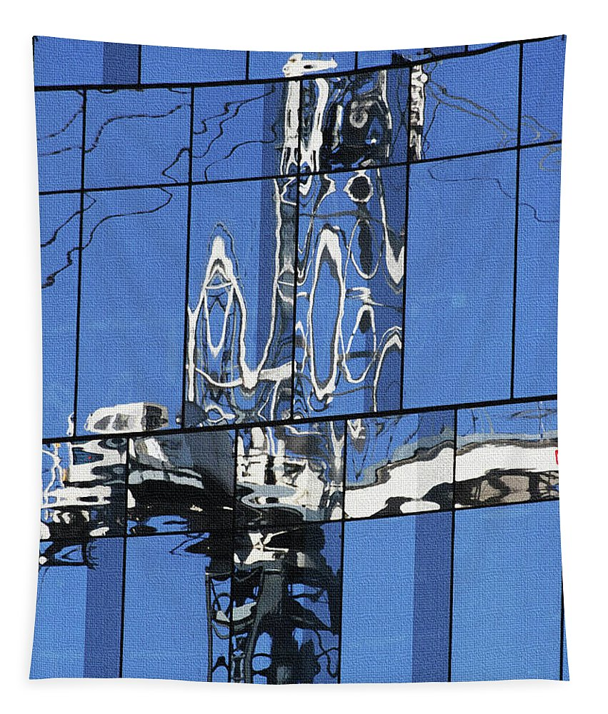 Reflection Of Crane Tapestry featuring the photograph Reflection Of Crane by Tom Janca