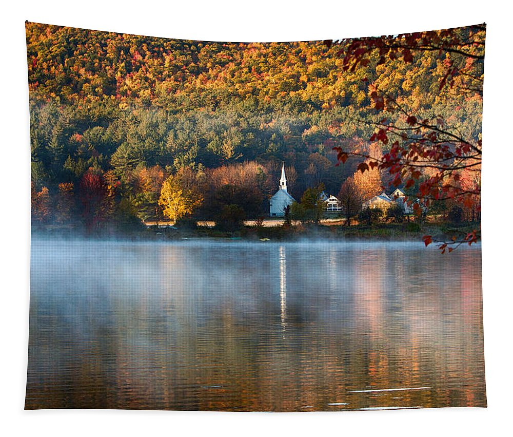 Autumn Tapestry featuring the photograph Reflection Of Little White Church With Fall Foliage by Jeff Folger