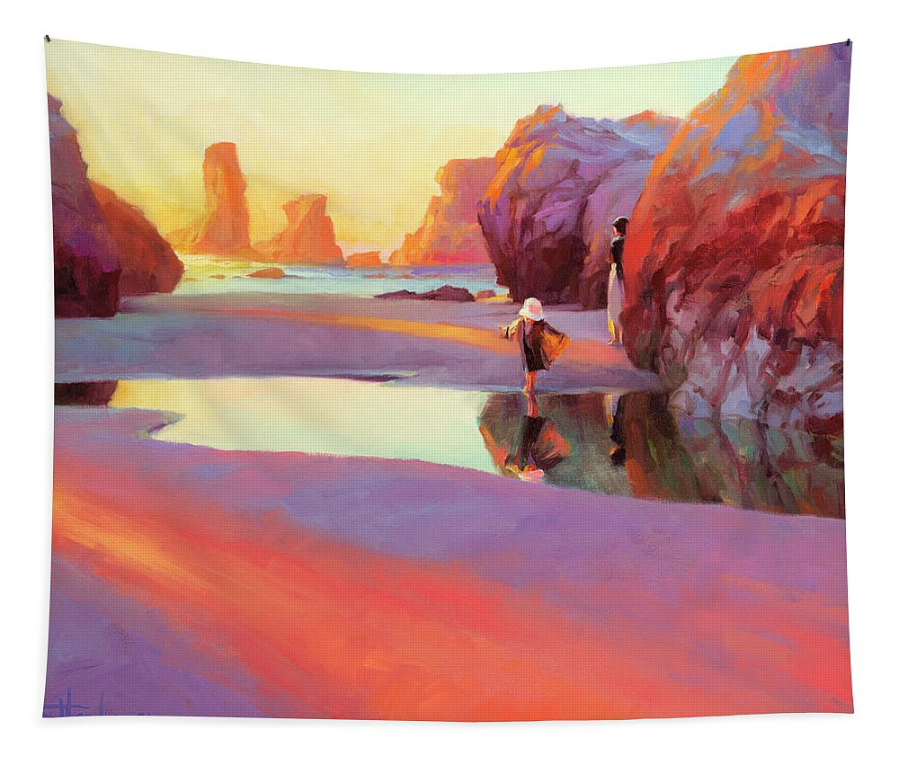 Coast Tapestry featuring the painting Reflection by Steve Henderson