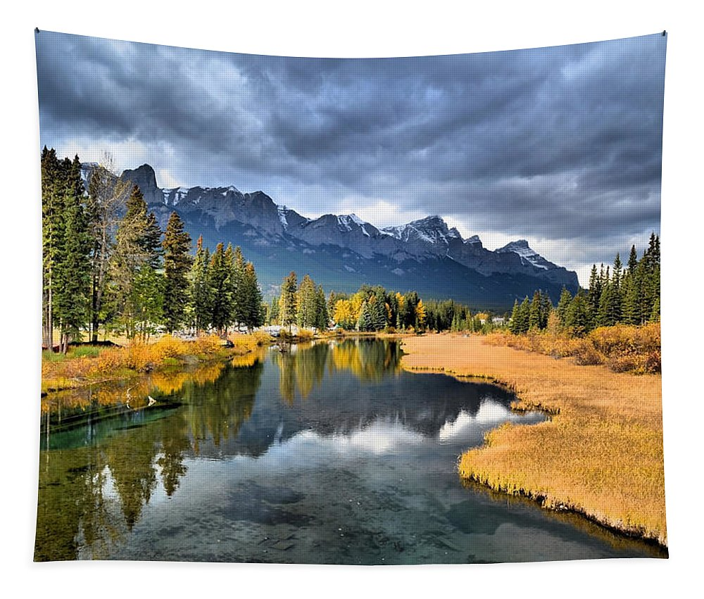Canmore Tapestry featuring the photograph Reflections In Canmore by Tara Turner