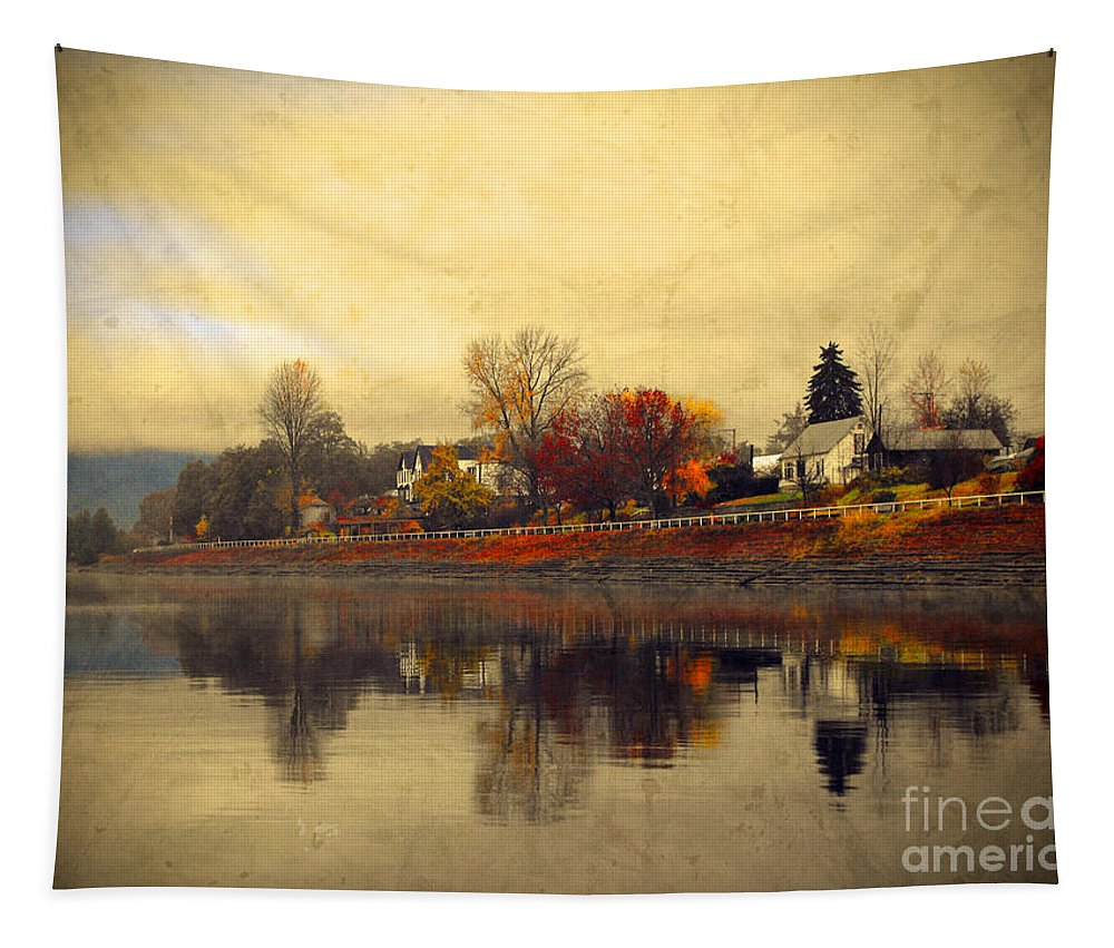 Trees Tapestry featuring the photograph Reflections In Nakusp by Tara Turner