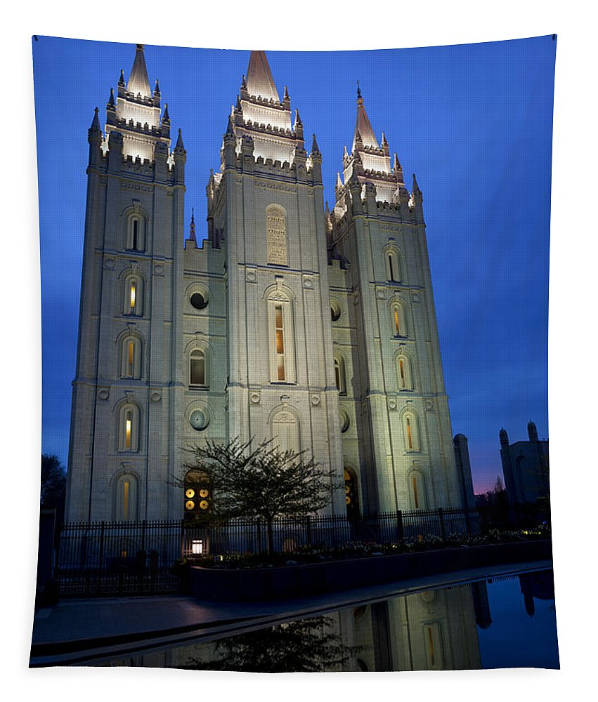 Reflective Temple Tapestry featuring the photograph Reflective Temple by Chad Dutson