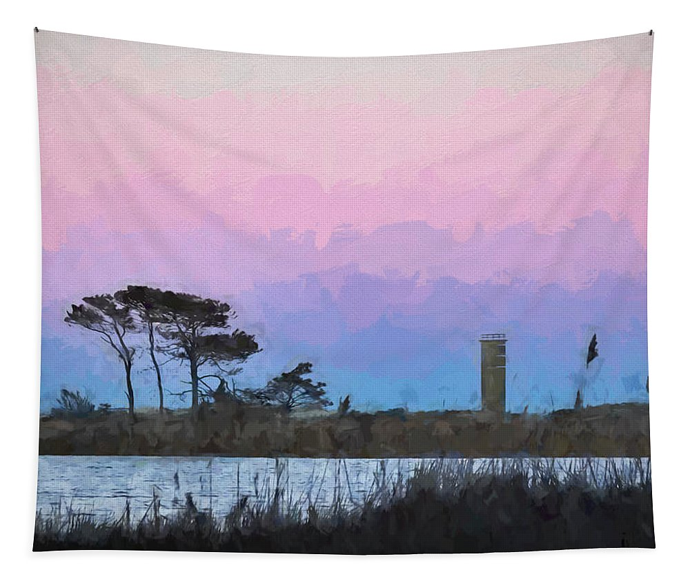 Sunset Tapestry featuring the digital art Rehoboth Beach Sunset by Francis Sullivan