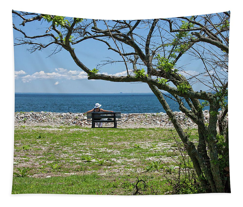 Enjoying The Day Tapestry featuring the photograph Relaxing By The Shore by Karol Livote