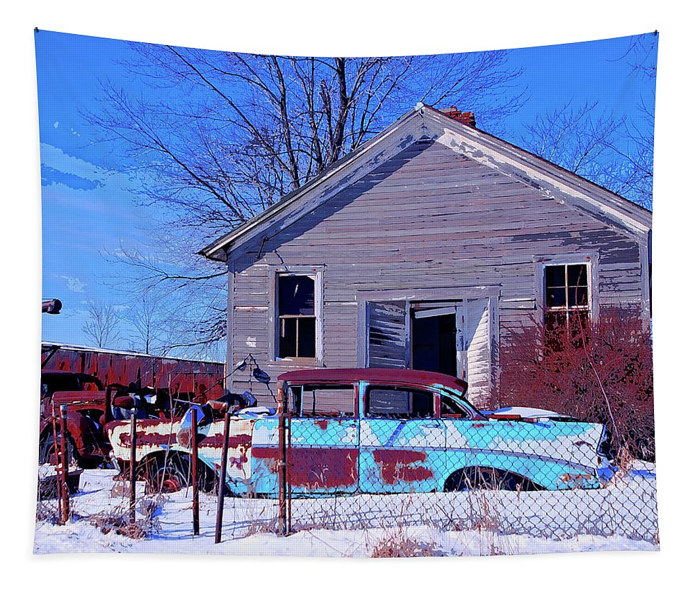 Old Chevy Tapestry featuring the mixed media Remains by Dominic Piperata