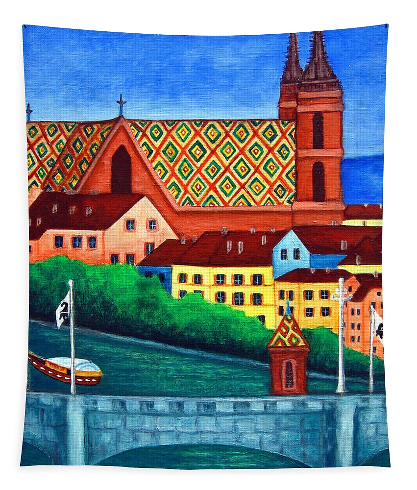 Basel Tapestry featuring the painting Remembering Basel by Lisa Lorenz