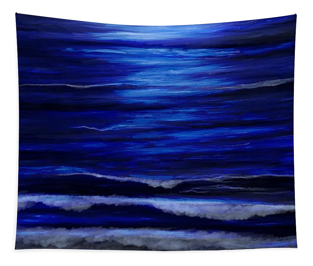 Wave Tapestry featuring the mixed media Remembering The Waves by Lisa Stanley