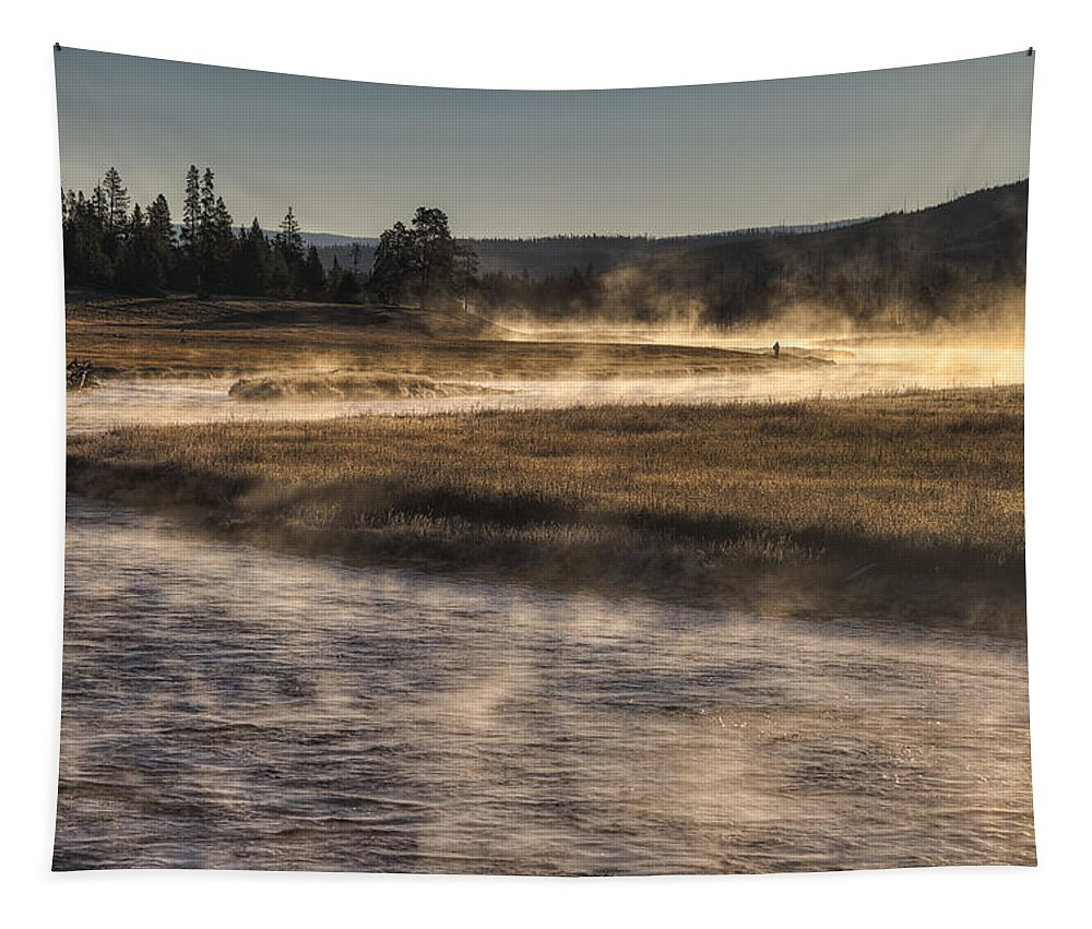 Yellowstone National Park Tapestry featuring the photograph Repose Of Nature by Mark Kiver
