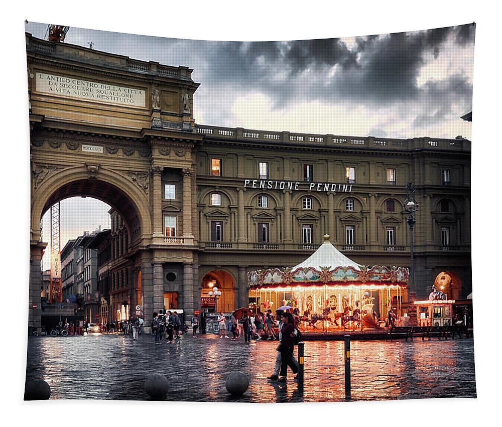Wall tapestry with street scene of Florence