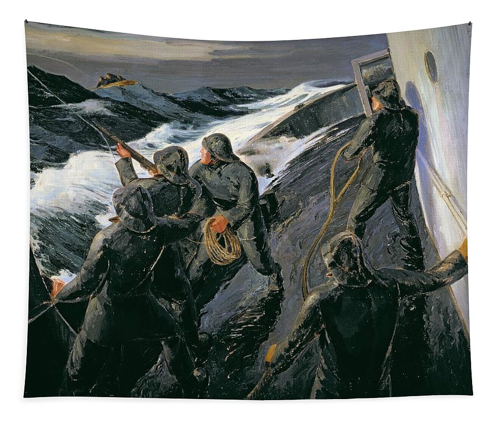 Rescue - Firing A Costen Gun Line (oil On Canvas) By Thomas Harold Beament (1898-1985) Tapestry featuring the painting Rescue by Thomas Harold Beament