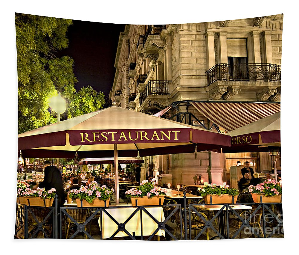 Restaurant Tapestry featuring the photograph Restaurant In Budapest by Madeline Ellis