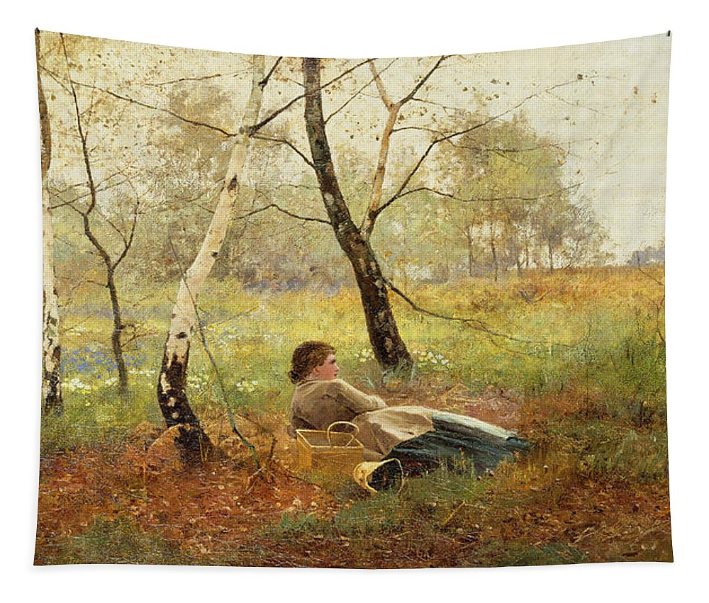Resting (oil On Canvas) By Benjamin D. Sigmund (fl.1880-1904) Tapestry featuring the painting Resting by Benjamin Sigmund