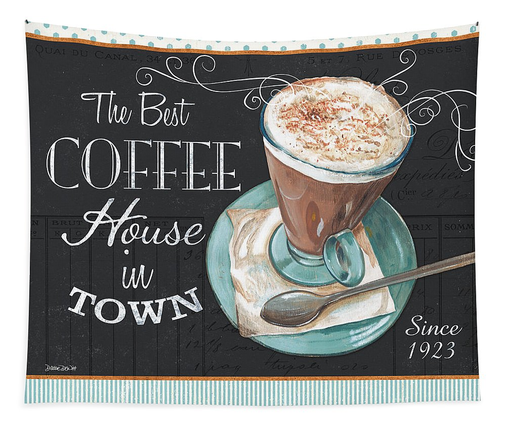 Coffee Tapestry featuring the painting Retro Coffee 2 by Debbie DeWitt