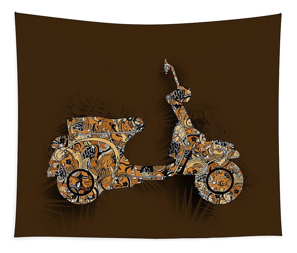 Retro Tapestry featuring the digital art Retro Scooter 5 by Bekim Art