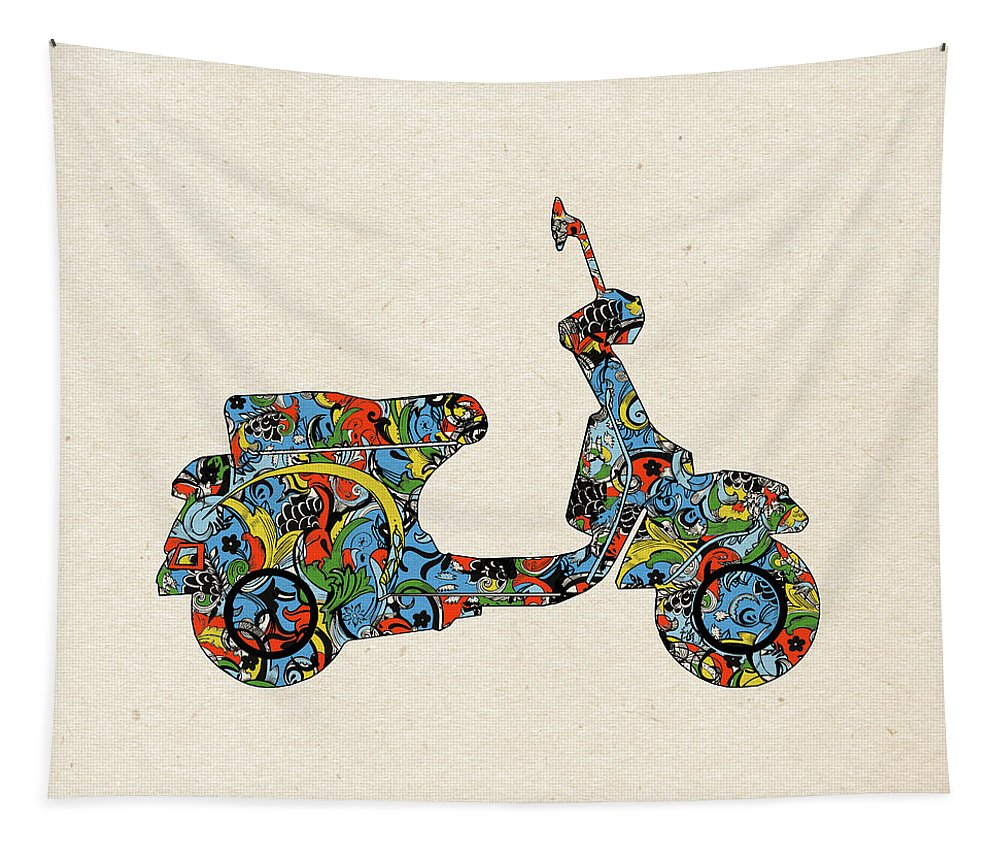 Retro Tapestry featuring the digital art Retro Scooter by Bekim Art