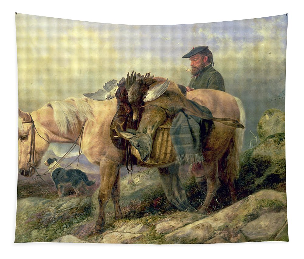 Pony; Brace; Grouse; Pipe; Deer; Hunt; Hunting; Hunter; Dog; Scotland; Scotsman; Highlands; Stag; Loaded; Horse; Beret; Blanket; Kilt; Rainclouds Tapestry featuring the painting Returning From The Hill by Richard Ansdell
