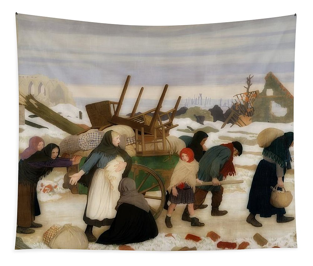 Painting Tapestry featuring the painting Returning To The Reconquered Land by George Clausen