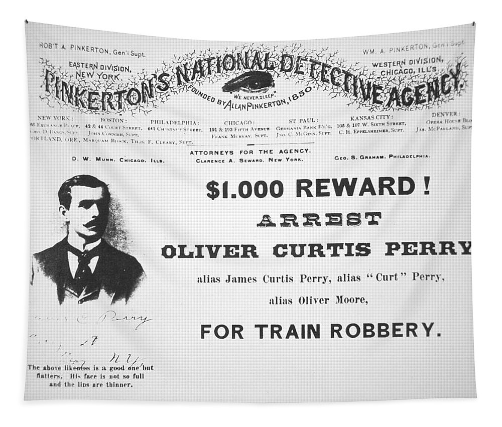 Pinkerton; Train Robber; Robbery; Us; Usa; United States; Thief; 1000 Reward; One Thousand Dollars; Dollar; Notorious; Outlaw; Criminal; Cames; Curt; Typography Tapestry featuring the painting Reward Poster For The Arrest Of Oliver Perry Issued by American School