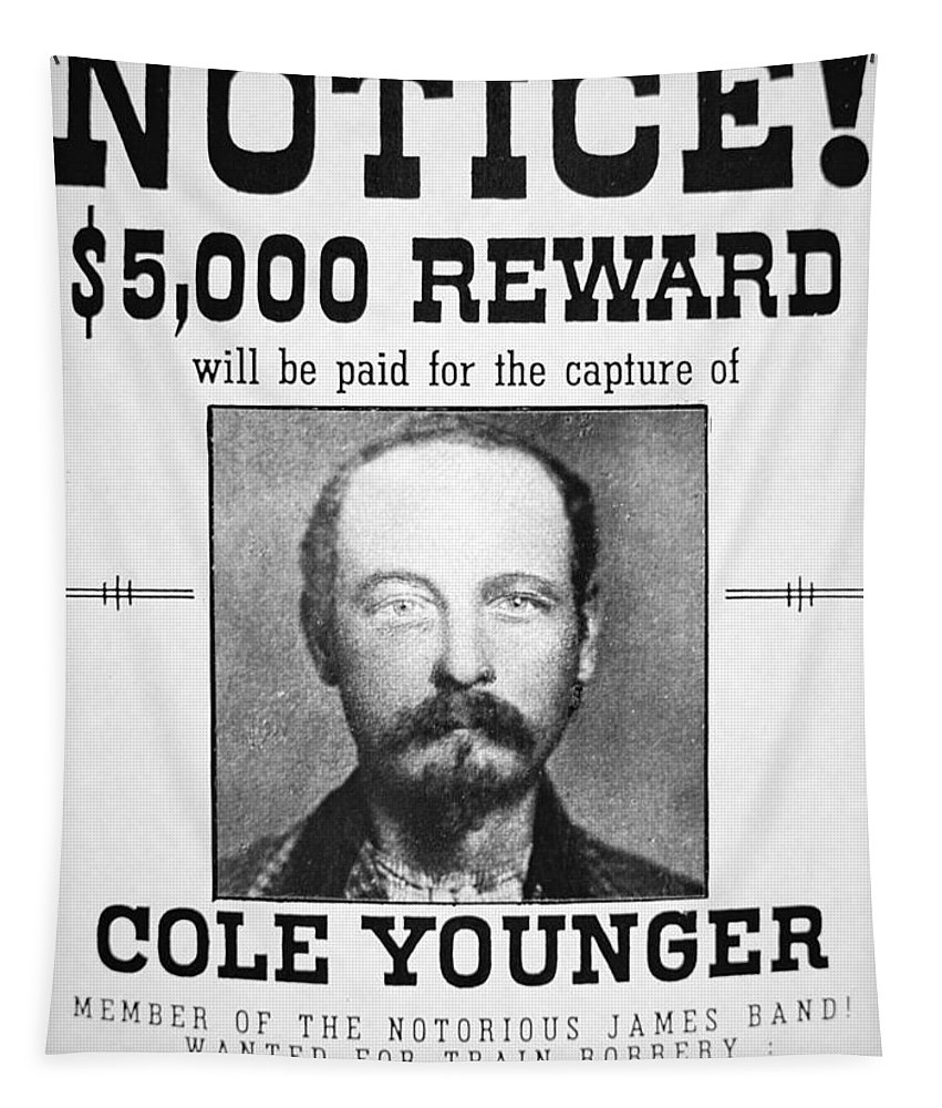 Confederate; Outlaw; James Younger Gang; Member; Mugshot; Criminal; Western; Wild West; Old West; Portrait; Male; Typography Tapestry featuring the painting Reward Poster For Thomas Cole Younger by American School