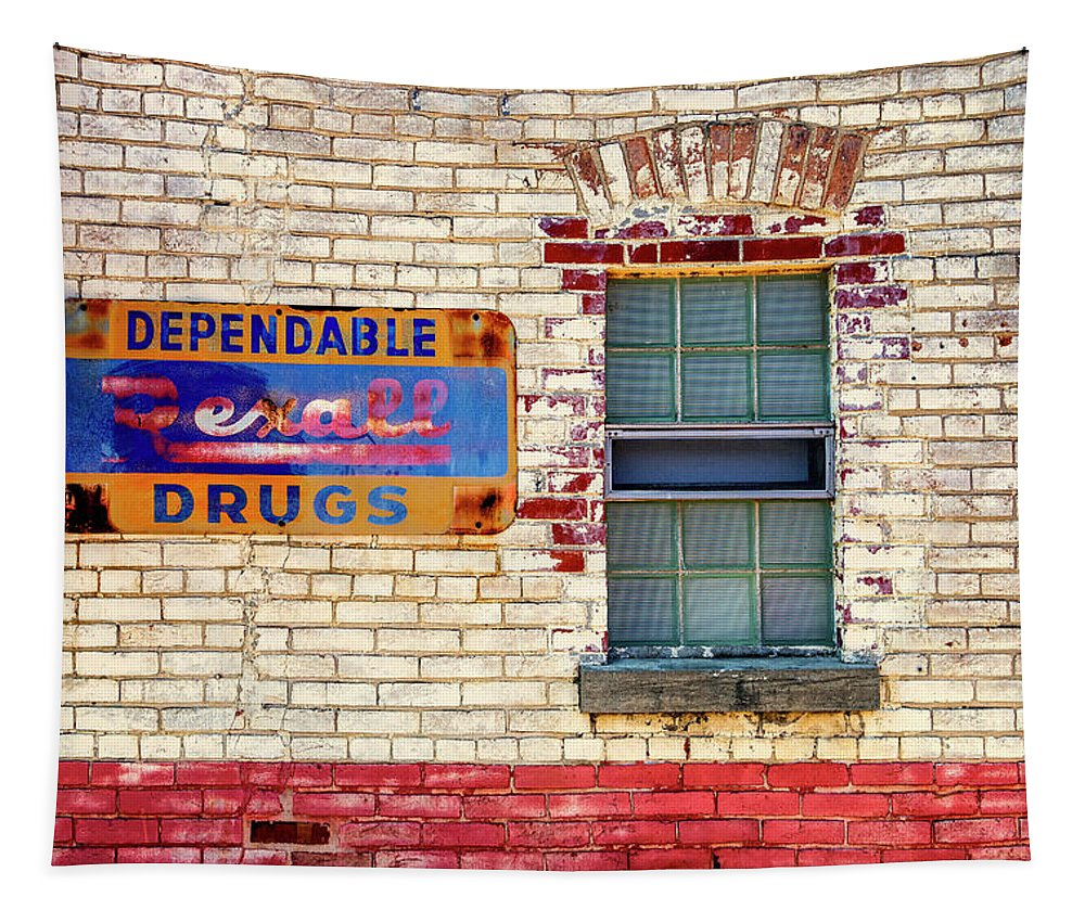 Rexall Tapestry featuring the photograph Rexall Drugs Sign Hermann Mo_dsc3130_16 by Greg Kluempers