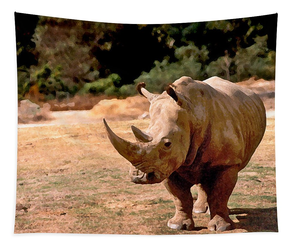 Animal Tapestry featuring the painting Rhino by Steve Karol