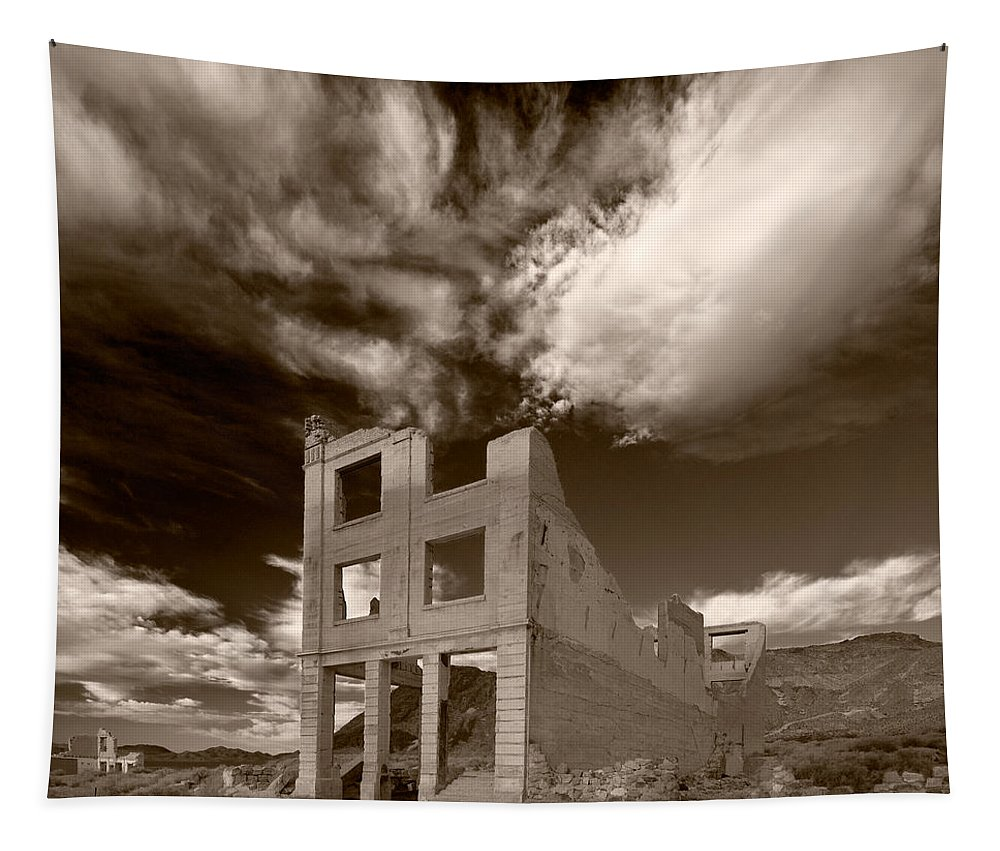 Cloud Tapestry featuring the photograph Rhyolite Nevada Ghost Town by Steve Gadomski