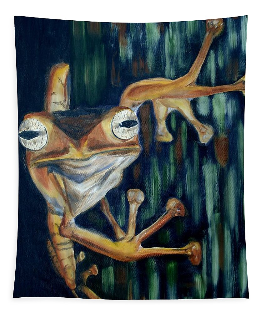 Frog Tapestry featuring the painting Ribbit by Donna Tuten