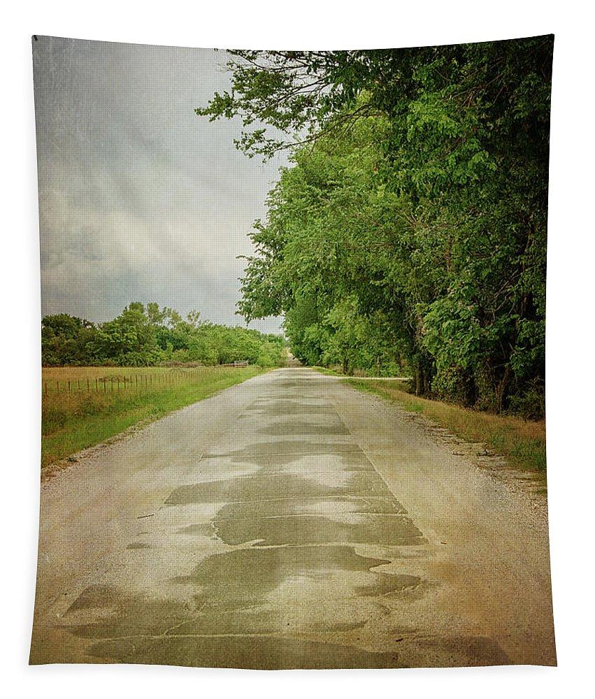 Ribbon Road - Sidewalk Highway Tapestry featuring the photograph Ribbon Road - Sidewalk Highway by Susan McMenamin