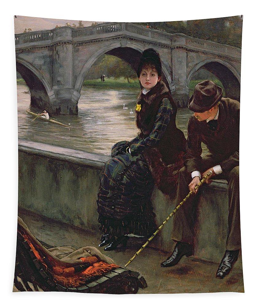 Richmond Tapestry featuring the painting Richmond Bridge by James Jacques Joseph Tissot