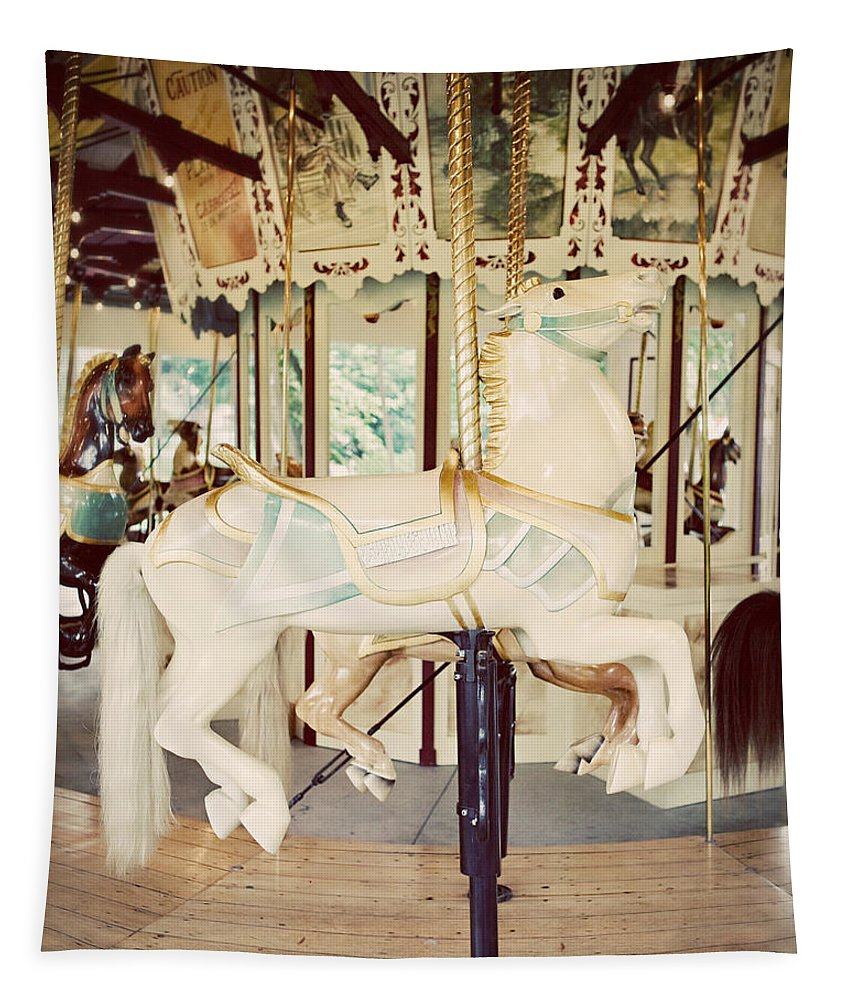 Merry Go Round Tapestry featuring the photograph Ride a White Horse by Lisa R