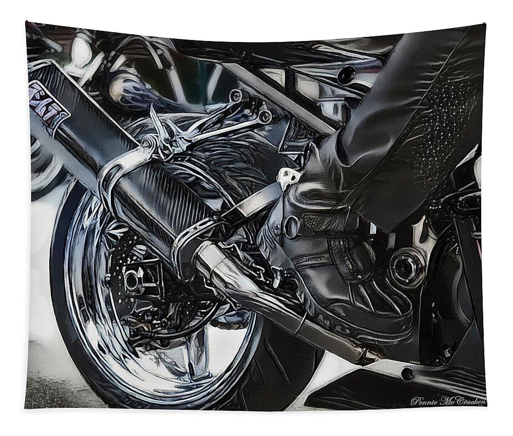 Biker Tapestry featuring the digital art Rider by Pennie McCracken