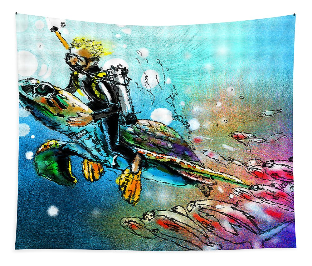 Turtle Painting Tapestry featuring the painting Riding A Turtle by Miki De Goodaboom