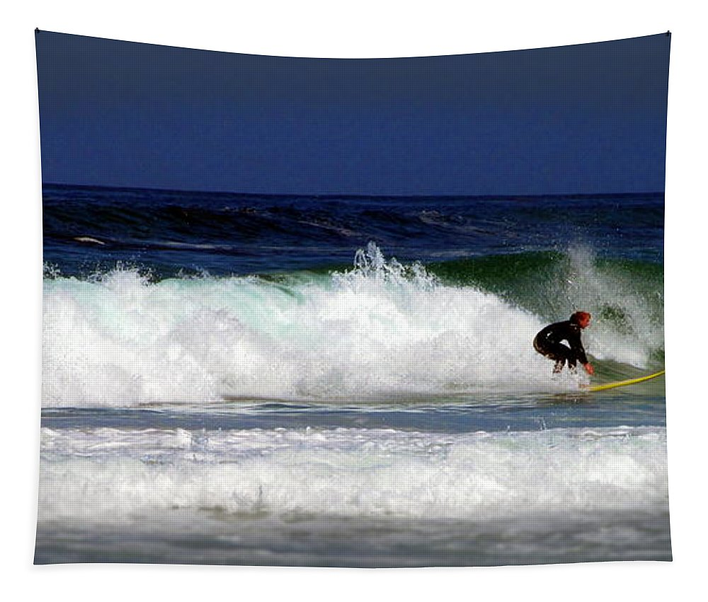 Monterey-bay Tapestry featuring the photograph Riding The Waves At Asilomar State Beach Four by Joyce Dickens