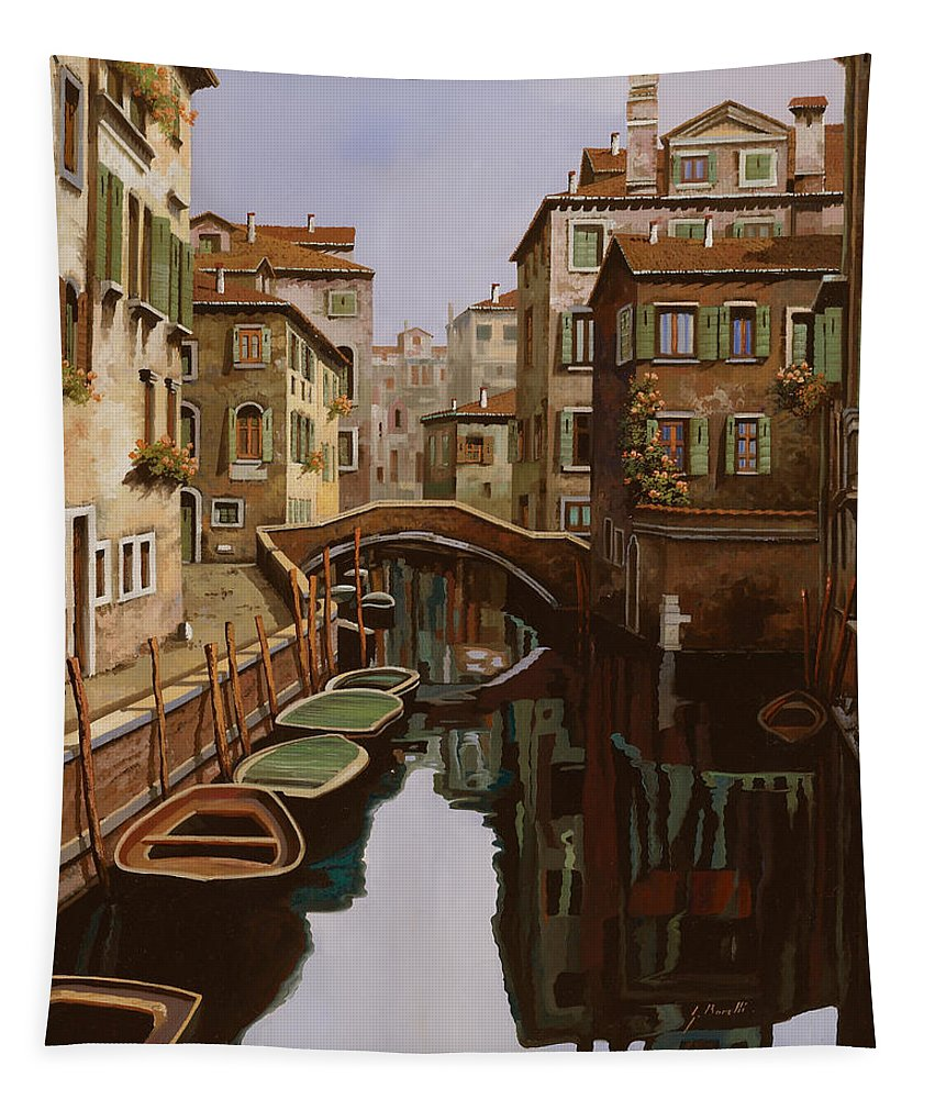 Venice Tapestry featuring the painting Riflesso Scuro by Guido Borelli
