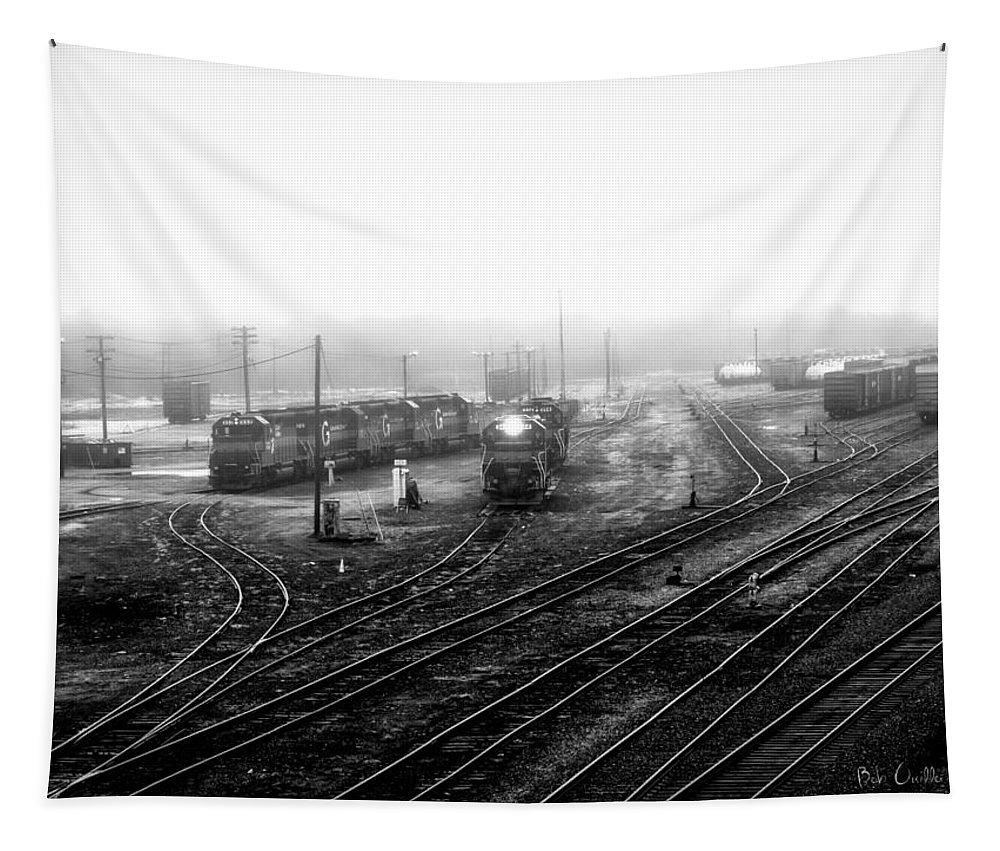 Train Tapestry featuring the photograph Rigby Yard South Portland by Bob Orsillo