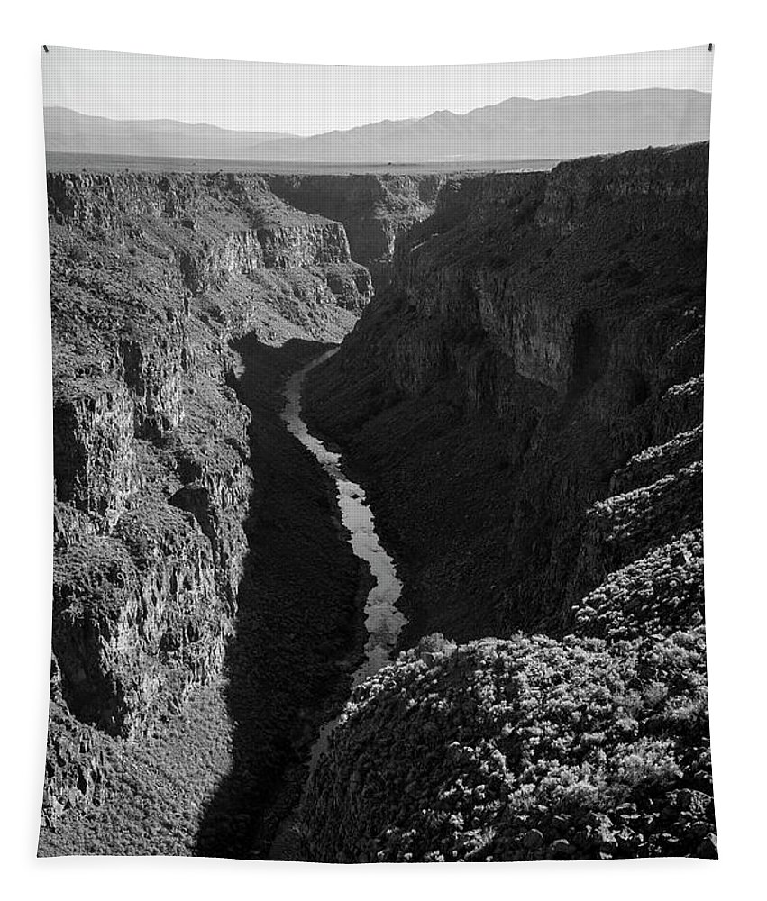 New Mexico Tapestry featuring the photograph Rio Grande Gorge I Bw by David Gordon