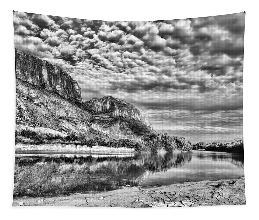 Rio Grande Tapestry featuring the photograph Rio Grande River Black And White by Judy Vincent