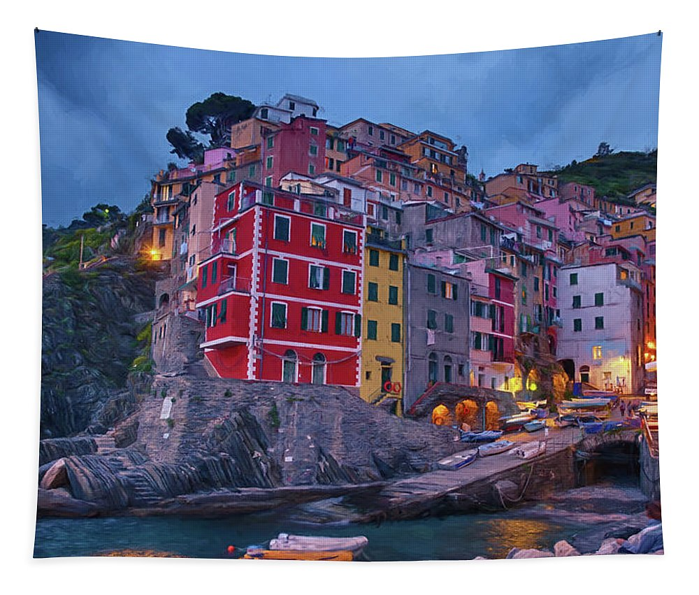 Joan Carroll Tapestry featuring the photograph Riomaggiore In Cinque Terre Italy Painterly by Joan Carroll
