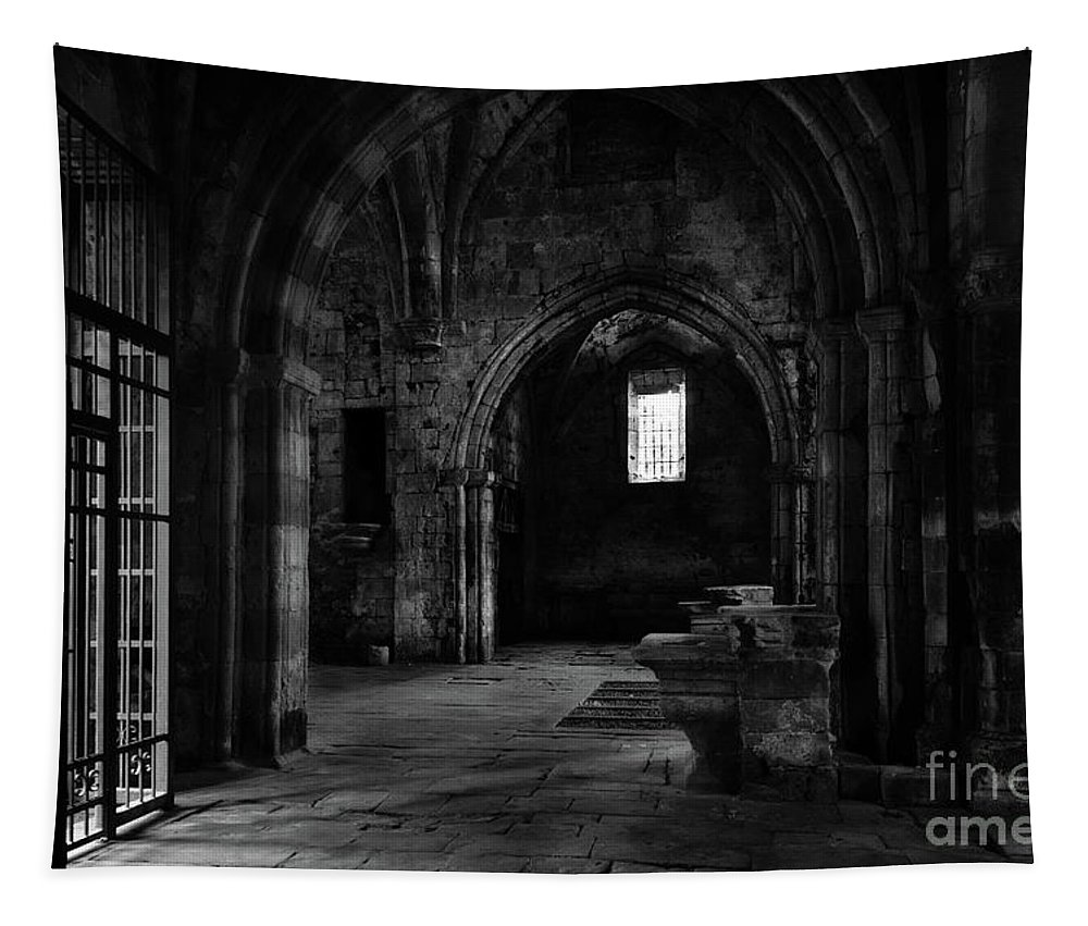 Burgos Tapestry featuring the photograph Rioseco Abandoned Abbey Naves Bw by RicardMN Photography