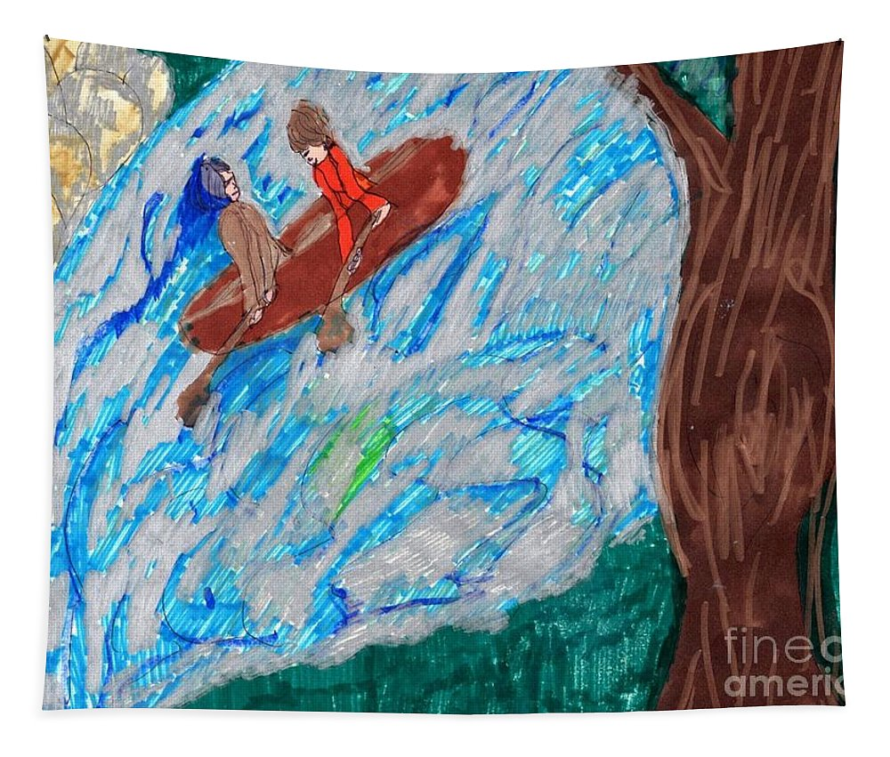A River With A Couple On A Raft Going Downstream Tapestry featuring the mixed media River Rafting by Elinor Helen Rakowski
