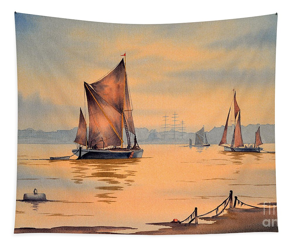 River Thames Tapestry featuring the painting River Thames At Greenwich London by Bill Holkham
